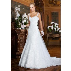 A Line Sweetheart Sheer Back Tulle Lace Wedding Dress With Straps