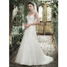 A Line Sweetheart Sheer Illusion Back Tulle Lace Wedding Dress With Straps