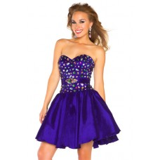 A Line Sweetheart Short/ Mini Purple Beaded Homecoming Prom Dress With Belt