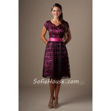 A Line Sweetheart Short Sleeve Hot Pink Satin Black Lace Modest Bridesmaid Dress