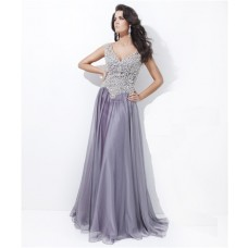 A Line V Neck Cap Sleeve Backless Long Grey Chiffon Beaded Prom Dress Open Back
