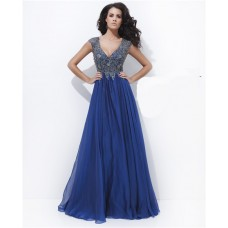 A Line V Neck Cap Sleeve Long Royal Blue Chiffon Embroidery Prom Dress Keyhole Back