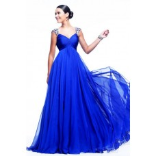 A Line V Neck Cap Sleeve Sheer Back Long Royal Blue Chiffon Beaded Evening Prom Dress