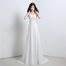 A Line V Neck Cowl Back Chiffon Lace Wedding Dress With Buttons