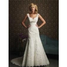 A Line V Neck Empire Waist Lace Wedding Dress With Straps Crystal Belt
