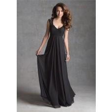 A Line V Neck Illusion Back Long Black Chiffon Lace Wedding Guest Bridesmaid Dress