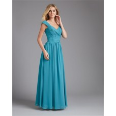 A Line V Neck Long Teal Blue Chiffon Ruched Wedding Guest Bridesmaid Dress With Straps
