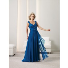 A Line V Neck Royal Blue Chiffon Mother Of The Bride Evening Dress With Flower Straps