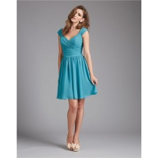 A Line V Neck Short Teal Blue Chiffon Ruched Wedding Guest Bridesmaid Dress With Straps