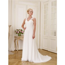 A Line V Neckline Empire Waist Keyhole Open Back Lace Chiffon Wedding Dress
