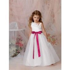 A-line Princess One Shoulder Floor Length White Organza Flower Girl Dress With Sash Bow