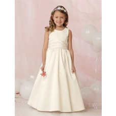 Ball Gown Scoop Floor Length White Organza Flower Girl Dress with ...