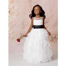 2ec69cbcc28 A-line Princess Scoop Floor length White Organza Flower Girl Dress with  Ruffles Black Sash