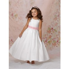 A-line Princess Scoop Long White Taffeta Flower Girl Dress With Pink Sash