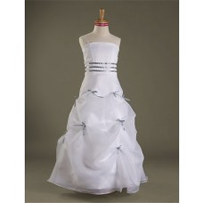 A line Princess Spaghetti Strap Long White Organza Junior Bridesmaid Dress