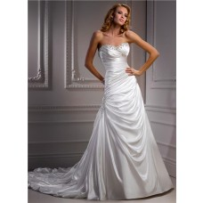 A line Sweetheart Corset Back Draped Satin Wedding Dress With Beaded Crystals