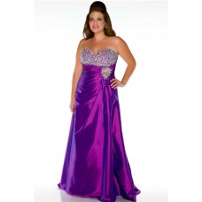 A line Sweetheart Long Purple Taffeta Beaded Plus Size Party Prom Dress