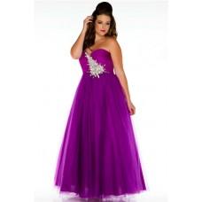 A line Sweetheart Long Purple Tulle Beaded Plus Size Prom Dress Corset Back