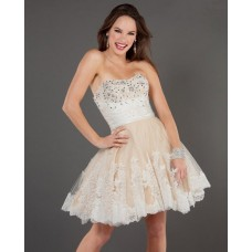 A line Sweetheart Short/Mini Nude/Ivory Beaded Party Cocktail Dress With Lace