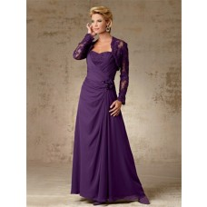 A line long purple chiffon mother of the bride dress with lace jacket