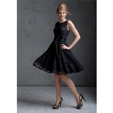 A line scoop knee length black lace prom dress with sash