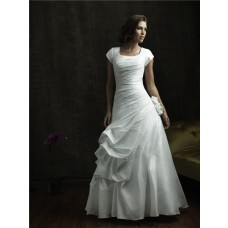 A line square cap sleeve taffeta modest wedding dress
