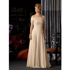 A line strapless long champagne chiffon lace mother of the bride dress with wrap