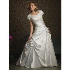 A line sweetheart cap sleeve taffeta wedding dress