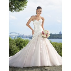 A line sweetheart chapel train tulle applique wedding dress