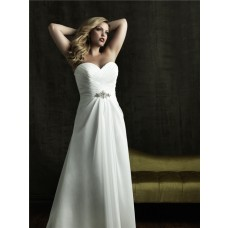 A line sweetheart court train designer simple plus size wedding dresses with beading