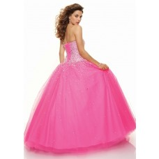 A line sweetheart floor length fuchsia prom dress with beading