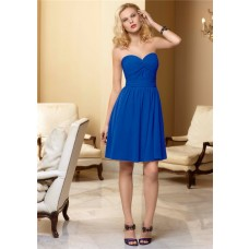 A line sweetheart knee length blue chiffon bridesmaid dress