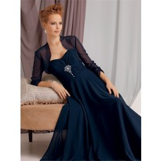 A line sweetheart long navy blue chiffon vintage mother of the bride dress with jacket