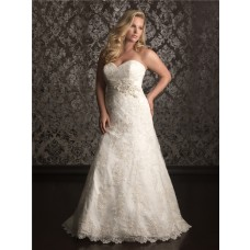 A line sweetheart sweep train lace plus size wedding dress with sash and buttons