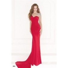Asymmetric Sheath Red Satin See Through Tulle Beaded Evening Prom Dress