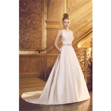 Ball Gown Backless Spaghetti Strap Satin Wedding Dress With Crystals Sash