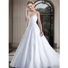 Ball Gown Bateau Illusion Neckline Low Back Tulle Pearl Beaded Wedding Dress