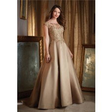 Ball Gown Boat Neck Cap Sleeve Gold Satin Lace Beaded Evening Prom Dress