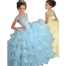 Ball Gown Cap Sleeve Light Blue Organza Ruffle Girl Pageant Prom Dress