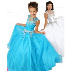 Ball Gown Cut Out Turquoise Tulle Beaded Girl Pageant Prom Dress