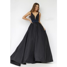 Ball Gown Deep V Neck Long Black Taffeta Beaded Prom Dress