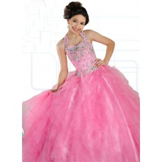 Ball Gown Halter Pink Organza Ruffle Beaded Girl Pageant Prom Dress