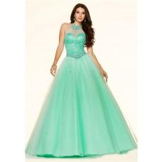Ball Gown High Neck Drop Waist Corset Mint Green Tulle Beaded Prom Dress