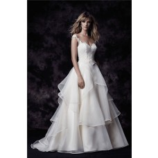 Ball Gown Illusion Neckline Cap Sleeve Organza Ruffle Lace Wedding Dress Open Back