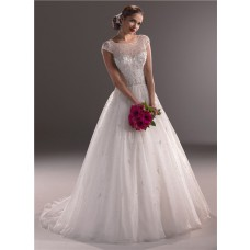 Ball Gown Illusion Neckline Cap Sleeve Tulle Wedding Dress With Crystal Beading