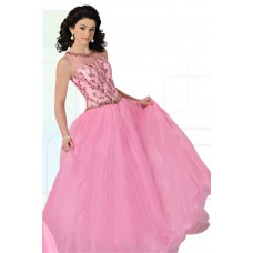 Ball Gown Illusion Neckline Cut Out Back Pink Tulle Beaded Teen Prom Dress