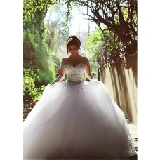Ball Gown Illusion Neckline See Through Tulle Long Sleeve Corset Wedding Dress With Crystals