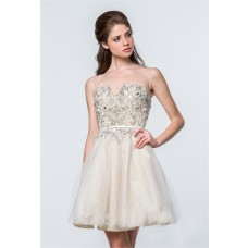 Ball Gown Ivory Tulle Beaded Illusion Back Short Prom Dress Sheer Straps