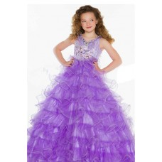 Ball Gown Long Lilac Purple Tulle Ruffle Beaded Little Girl Party Prom Dress