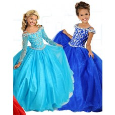 Ball Gown Off The Shoulder Long Sleeve Turquoise Tulle Beaded Girl Pageant Dress